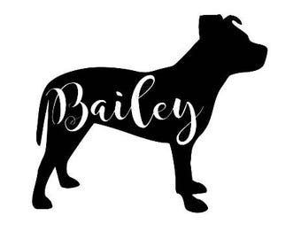 Pit Bull - Staffordshire Bull Terrier Silhouette Customized Decal Dog Sticker