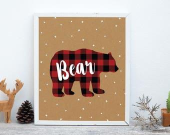 Bear Print, Nursery Animal Wall Art, Woodland Nursery Decor, Rustic Decor, Cabin Decor, Printable Poster Instant Download