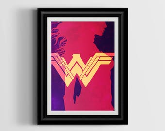 Wonder Woman Art Print - 8x10 - Digital Download - Printable Wall Art - Printable Decor - Geeky Wall Art - Instant Download