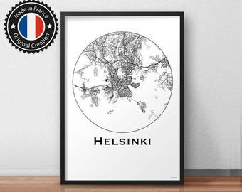 Poster Helsinki Finland Minimalist Map - City Map, Street Map