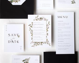Leafy Botanical Typography Invitation / Sophia Suite