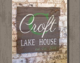 """Hand-Painted, Wood Sign,  """"Personalized Family Lake House"""" Sign (Wall Decor)"""