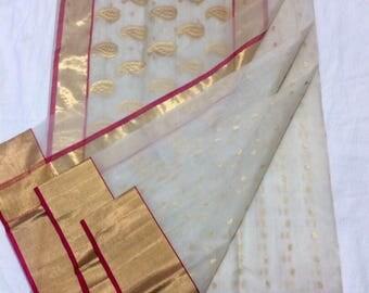Pure silk chanderi saree