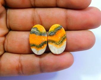 Very Rare ! Natural Bumble Bee Jasper Cabochon Loose Gemstone 22x13 MM Approx 14.00 Cts Oval Shape  For Making Jewel.