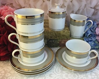 Mikasa Cambridge Coffee Tea Cups Saucers Sugar Creamer Platinum Gold EUC Stunning Available Separately Vintage