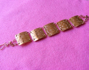 Bracelet - Copper textured squares - Findings copper wire