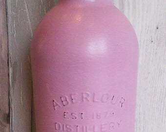 Up-cycled bottle, distressed bottle, fancy bottle, chalk painted bottle, up cycled bottle, altered bottle, handpainted bottle