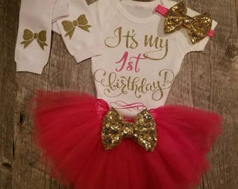 Pink TUTU Birthday Set, Half, 1/2, First, Second Birthday - TUTU, Onesie, Leg Warmers and Matching Bow