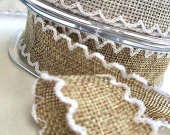 Scalloped edge, faux burlap ribbon, rustic look ribbon, wedding inspiration, flower arranging, shabby chic, ribbon