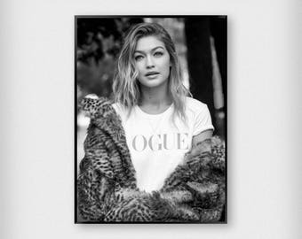 Gigi Hadid Vogue Print | Fashion | Black and White | Photography - Model - Poster
