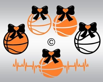 Basketball ball heartbeat SVG Clipart Cut Files Silhouette Cameo Svg for Cricut and Vinyl File cutting Digital cuts file DXF Png Pdf Eps