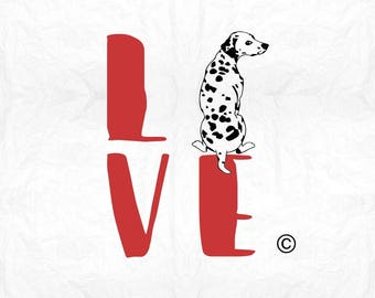 love dalmatian SVG Clipart Cut Files Silhouette Cameo Svg for Cricut and Vinyl File cutting Digital cuts file DXF Png Pdf Eps