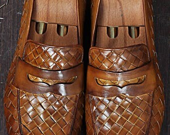 TucciPolo Digno-T Stylish Tobacco Chequeboard Woven Italian Leather Handmade Mens Loafer Shoe