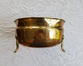 Large vintage hammered brass planter with feet
