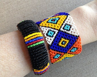 Two bright beaded bracelets, African Masai style