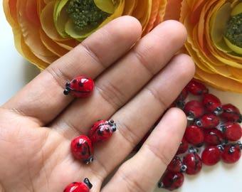 Ladybug beads red glass beads, 10 x 15mm ladybird beads, 5 pcs Inscet beads, Lampwork glass beads, Jewelry supplies
