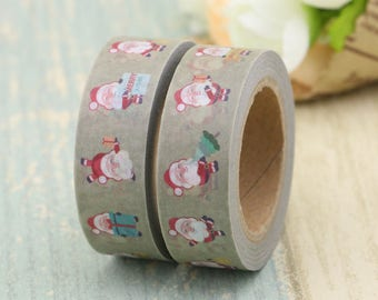 Washi Tape - Decorative Tape - Paper Tape - Planner Tape - Christmas Washi Tape -Santa Washi - Deco Paper Tape - Planner Washi