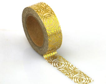 Washi Tape - Decorative Tape - Paper Tape - Planner Tape - Gold Rose Foil Washi Tape