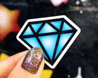 Blue Diamond Sticker - Vinyl Sticker - Perfect size for phone, water bottle, laptop...
