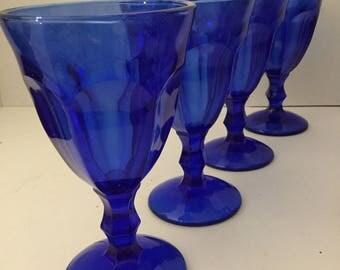 Set Of 4 Vintage Cobalt Blue Stemmed Wine Glasses /Water Glass