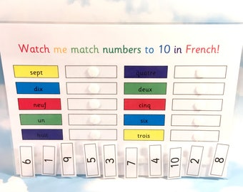 French number words to 10 learning sheet, KS1, Teaching resource, Educational toy, Numbers, Visual learners, counting, numeracy