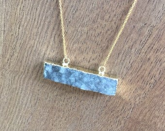 Ice Blue Druzy Stone Pendant Dainty Chain Necklace, 16k Gold Plated Chain