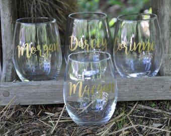 Set of 9 / Personalized Wine Glasses / Bachelorette Party / Bridal Party Wine Glasses / Wine Glass / Bridesmaid Gift / Wedding Wine Glasses