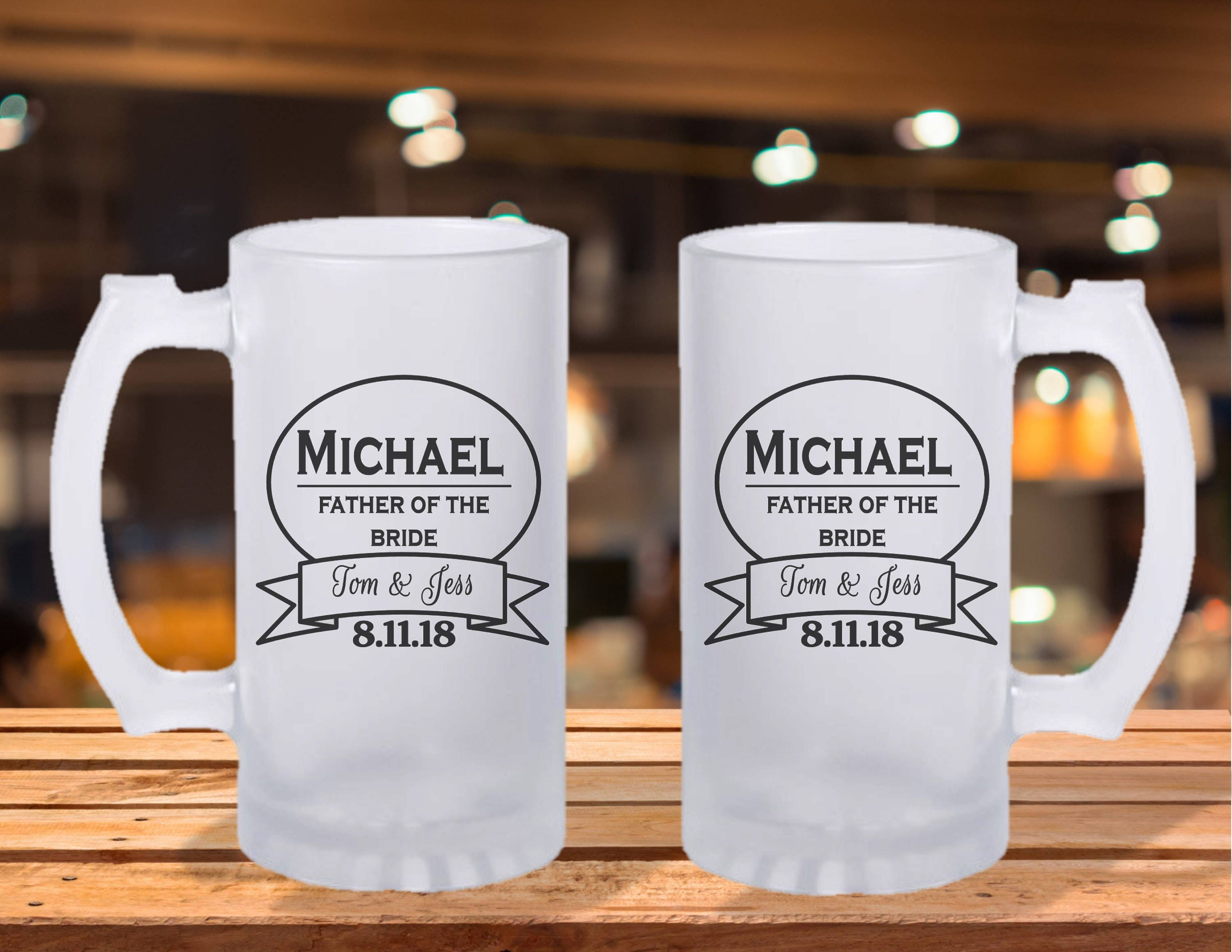 Frosted Stein Mug Groomsman Gift Ideas Brides Father Beer Of The Bride Wedding Idea Groomsmen