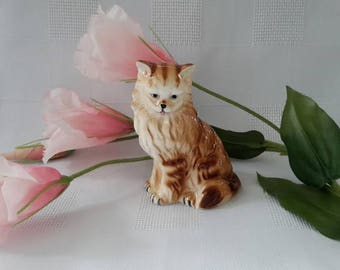 Sitting Ginger Cat Porcelain Figurine