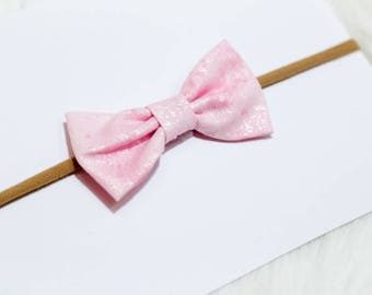 Nylon Headband - Baby Hair Bow - Itty Bitty Bow - Pink Headband - Baby Headband - Hair Accessories - Bow Headband - Hairband - Baby Bows