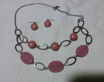 Pretty dusty rose colored stone multi strand necklace and pierced earrings.  Estate found costume jewelry
