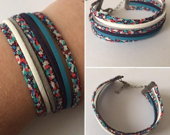 Handmade Liberty floral and leather bracelet