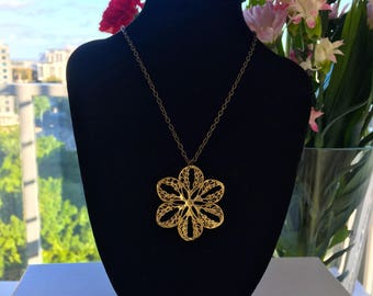 Gold-tone Flower Stainless Steel Pendant and Chain Necklace