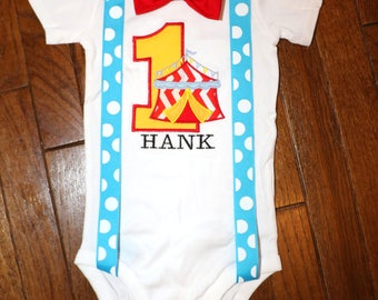 Circus Birthday Shirt with Suspenders and Bow Tie