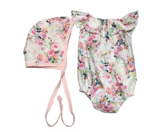 Baby Romper, Baby Clothing Set, Floral Baby Romper, Baby Bonnet, Floral Baby Bonnet, Newborn Outfit, Coming Home Outfit, Baby Outfit