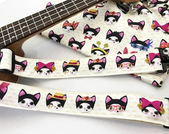 NuovoDesign MetaCats Multi-functional ukulele strap with velcro or conventional style