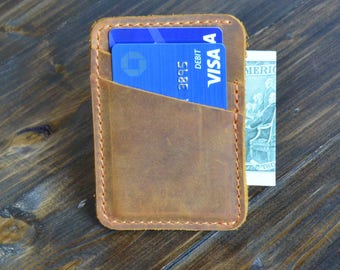 Personalized Slim Front Pocket Wallet, Men's Cardholder, Minimalist Wallet, Distressed Leather Cardholder, Perfect Gift, Cinnamon Brown