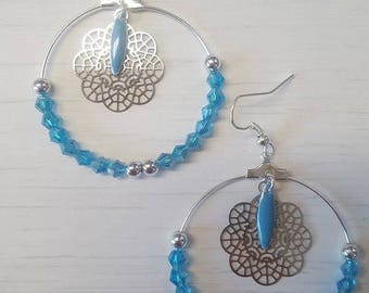 Large hoop earrings silver and turquoise
