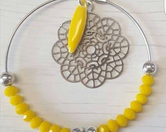 dangle hoop earrings yellow