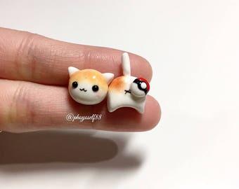Polymerclay Cat earrings and Pokeballs: Regular ball/Great ball/ Ultra ball