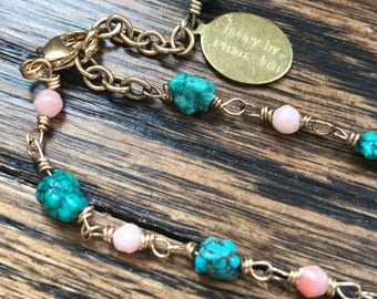 Tess bracelet with natural turquoise, coral and wooden beads with 14k gold filled wire and components