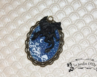 Black Dragon polymer clay necklace