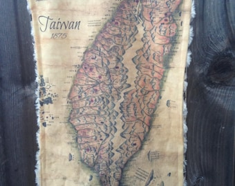 TAIWAN map blanket - antique Republic of China map baby minky security blankie - wall art, home decor, wall hanging - 11 by 20 inches