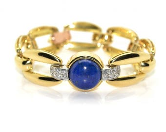 Bracelet gold and blue onyx Tank 1940