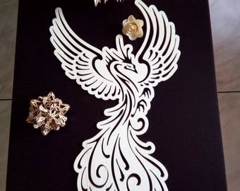 """""""Fenice"""" Wall decoration in laser-cut wood. Free shipping in Italy x areas not disadvantaged"""