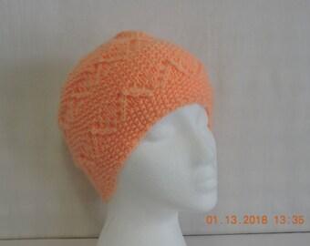Peach knit hat