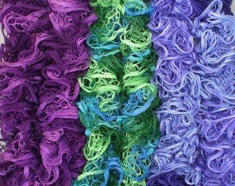 Ladies Ruffle Scarves in Plum Purple, Green and Blue, Violet and Mauve, Colours