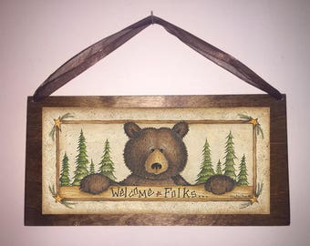 12x6 Welcome Folks Country Bear Home Decor Art Print Sign with Choice of Black Wire or Brown Ribbon for Easy Hanging