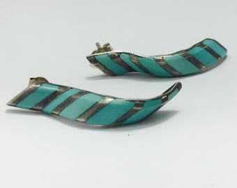 Native turquoise earrings, sterling silver earrings, sleeping beauty turquoise, Native American jewelry, old pawn earrings, TheOSB