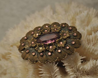 Oval purple rhinestone brooch